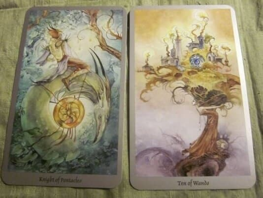 05/31/12: Almost Done with the Chores | Knight Pentacles, 10 Wands 1