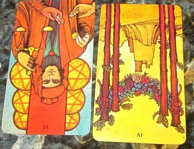 06/11/12: No Charity Dating | 6 of Pentacles rev, 4 Wands rev 1