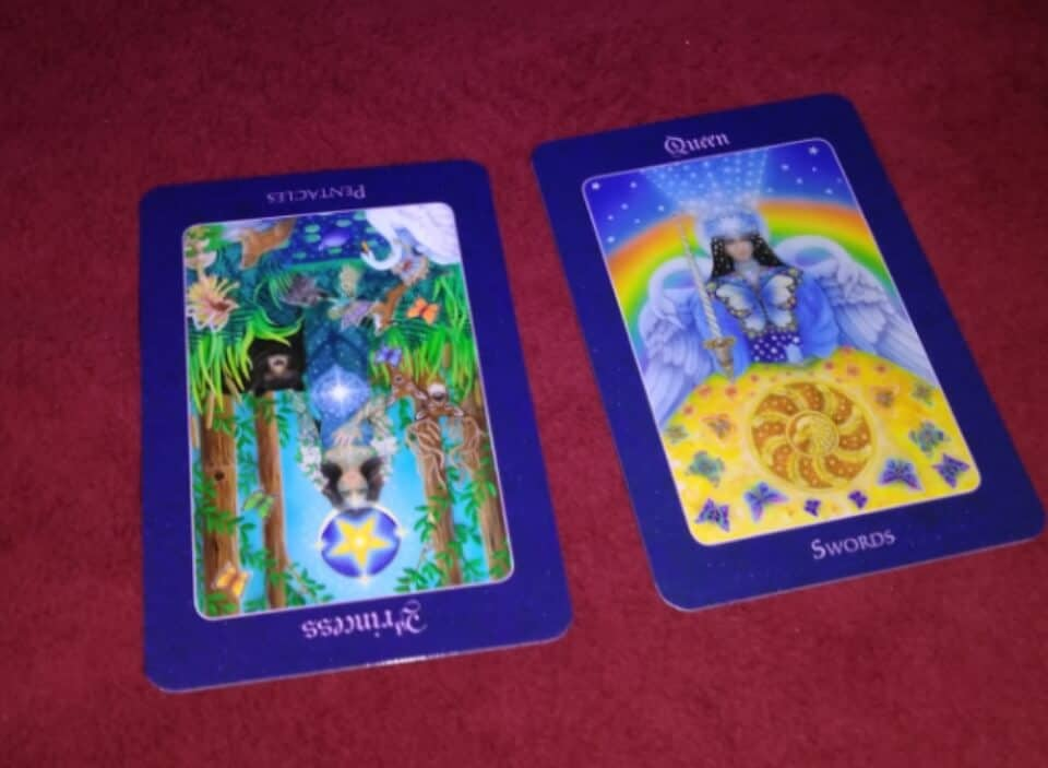 Page of Pentacles Rx, Queen of Swords