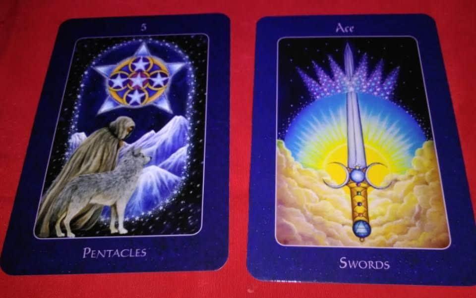 five of pentacles ace of swords