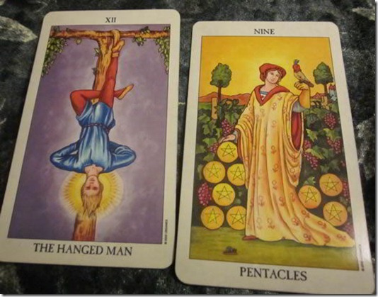 Hanged Man 9 of Pentacles Meaning