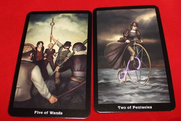 Five of Wands Two of Pentacles Steampunk Tarot