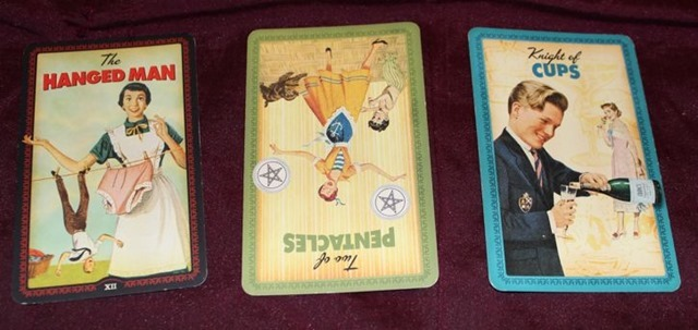 Hanged Man 2 Pentacles Knight Cups